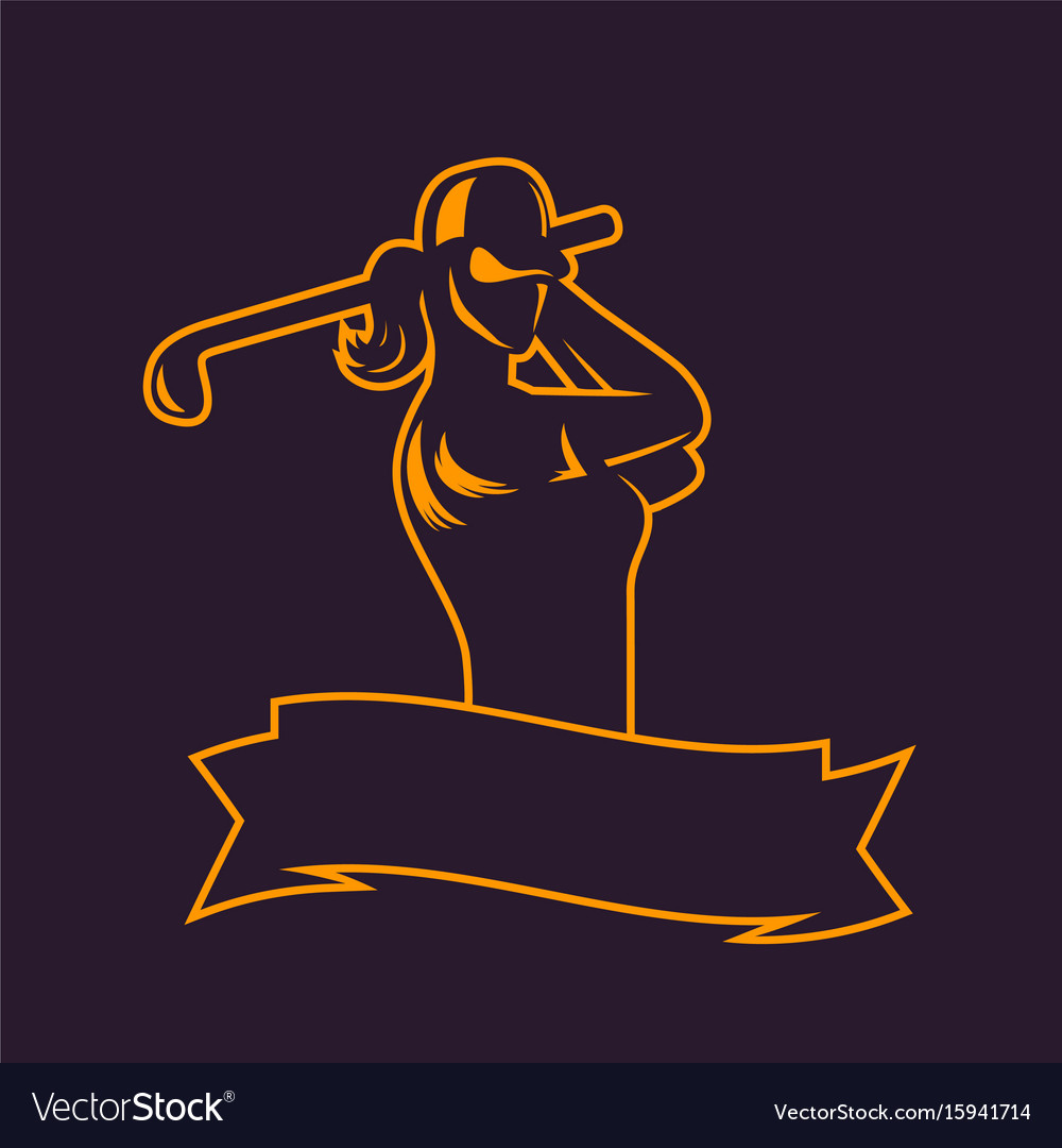 Golf logo template outline of girl swinging club