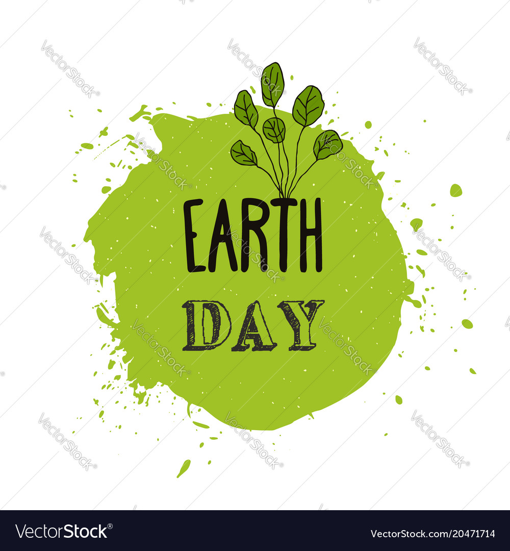 Happy earth day watercolor ink texture background