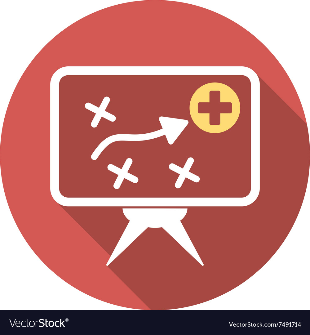 Pricing Strategy Icon: Health Strategy Screen Flat Round Icon With Long Vector Image