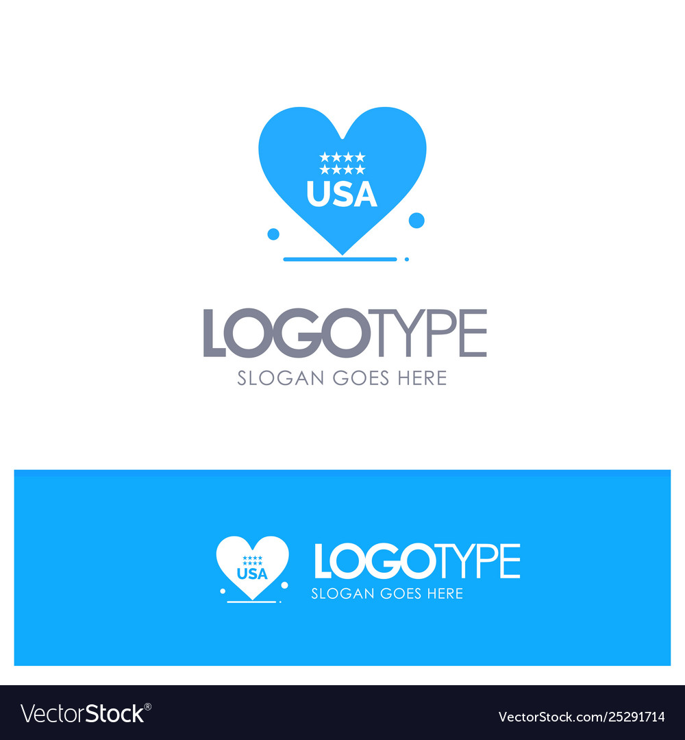 Heart love american usa blue solid logo with