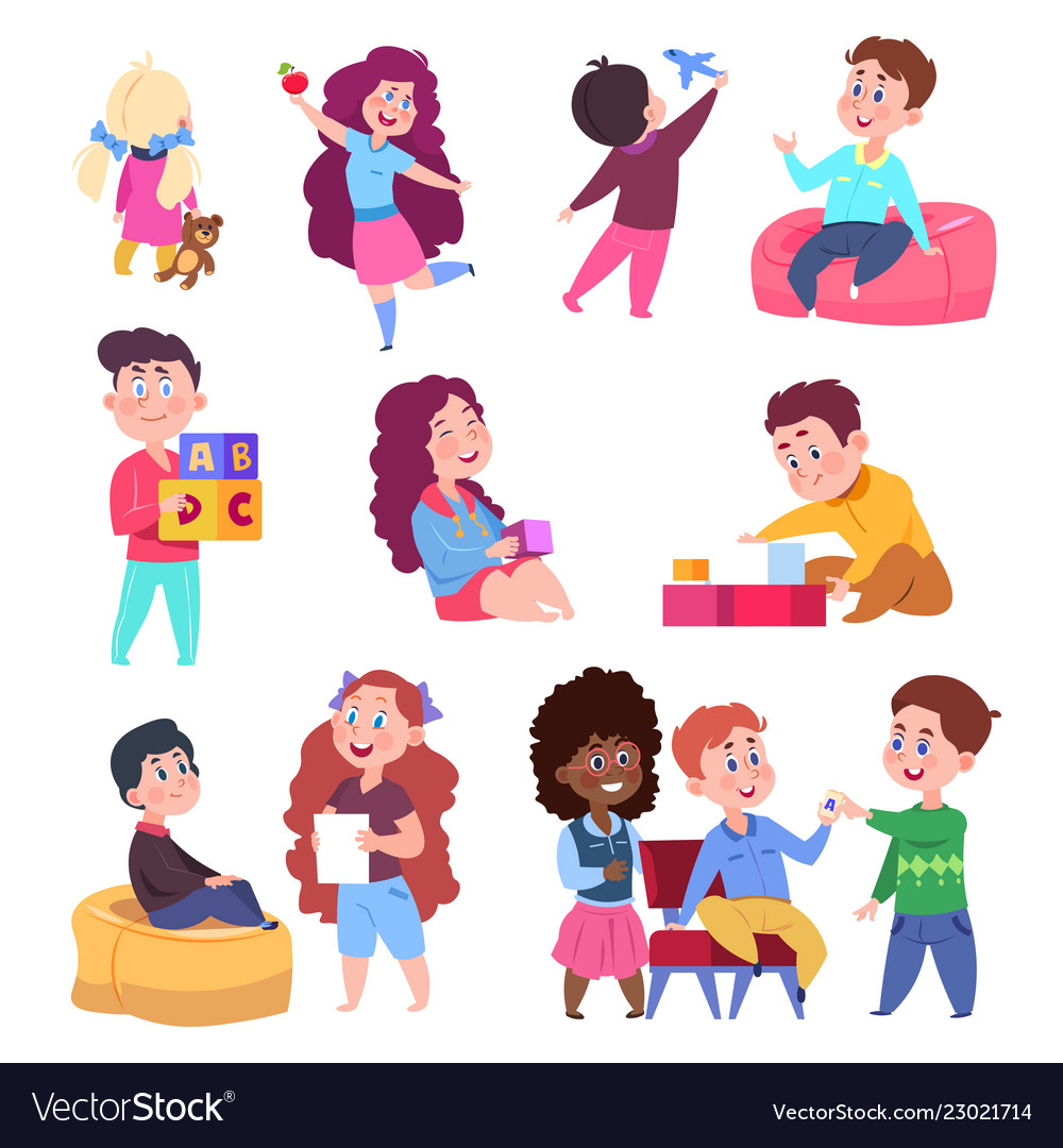 Little children play toys and chat cartoon