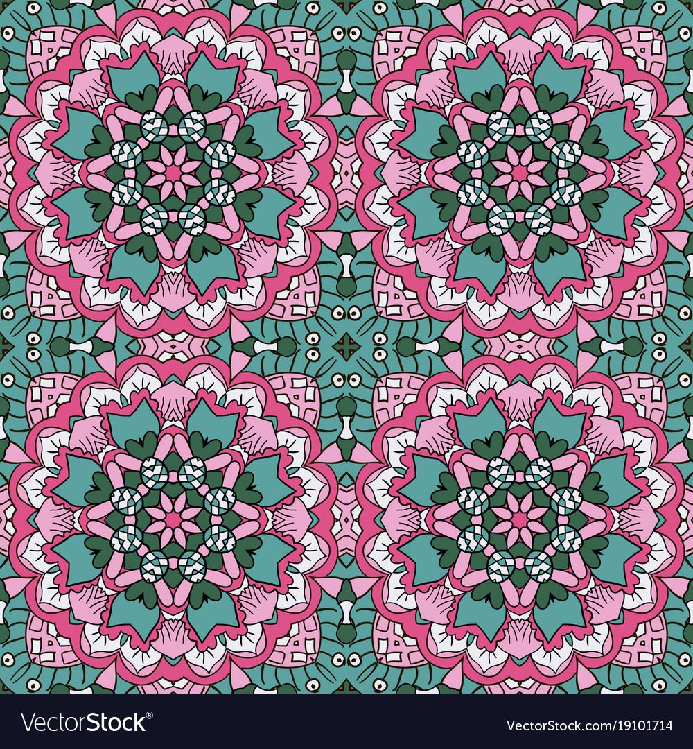 Mandala oriental ornament relaxing doodle drawing vector image