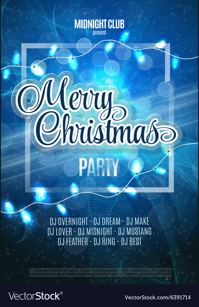Merry Christmas Party Flyer Abstract Winter