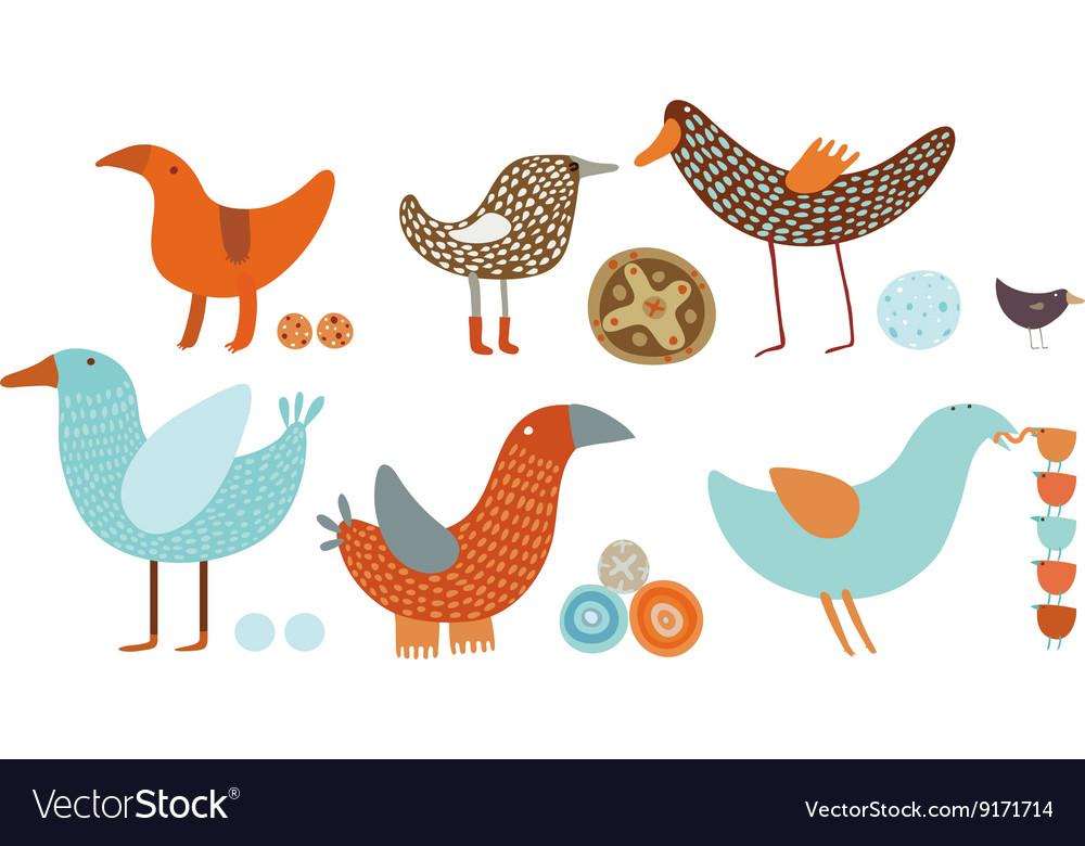 Orange and blue birds set vector image