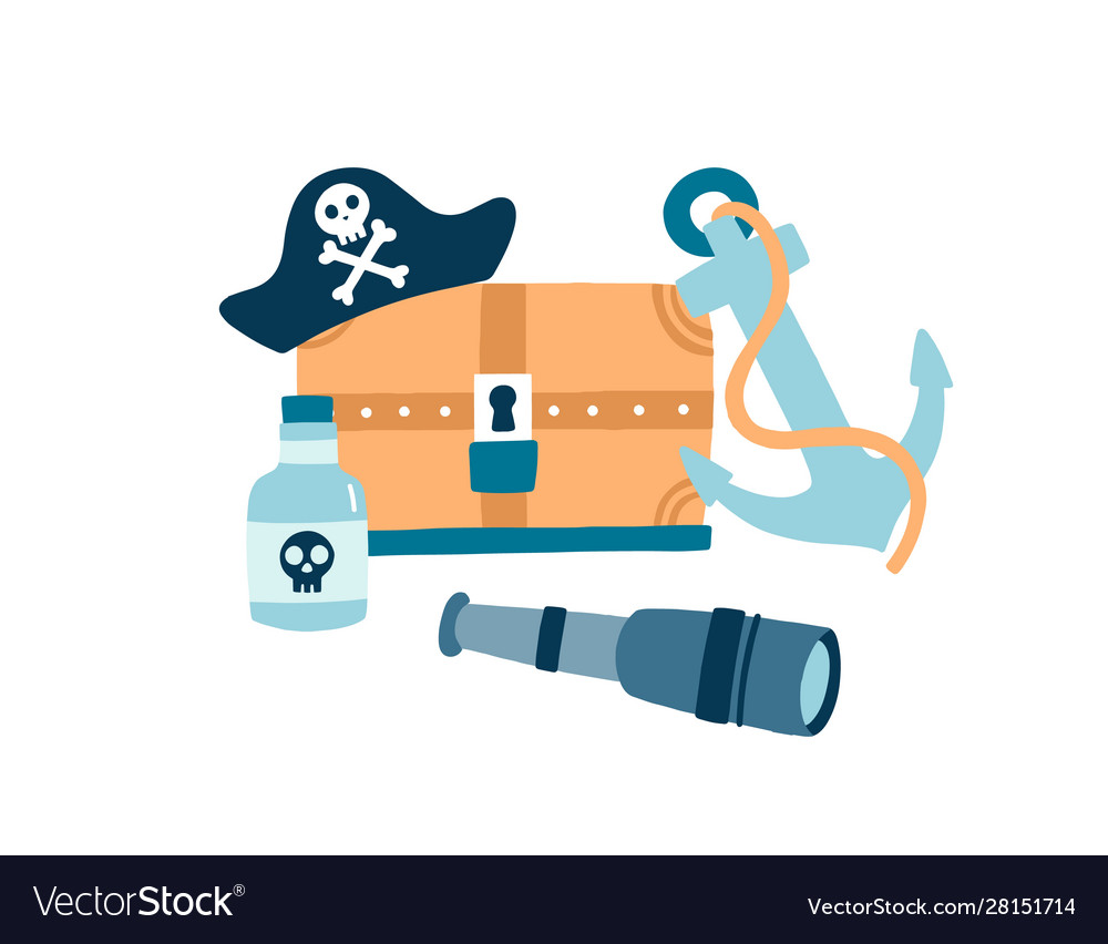 Pirate items flat pirate hat vector