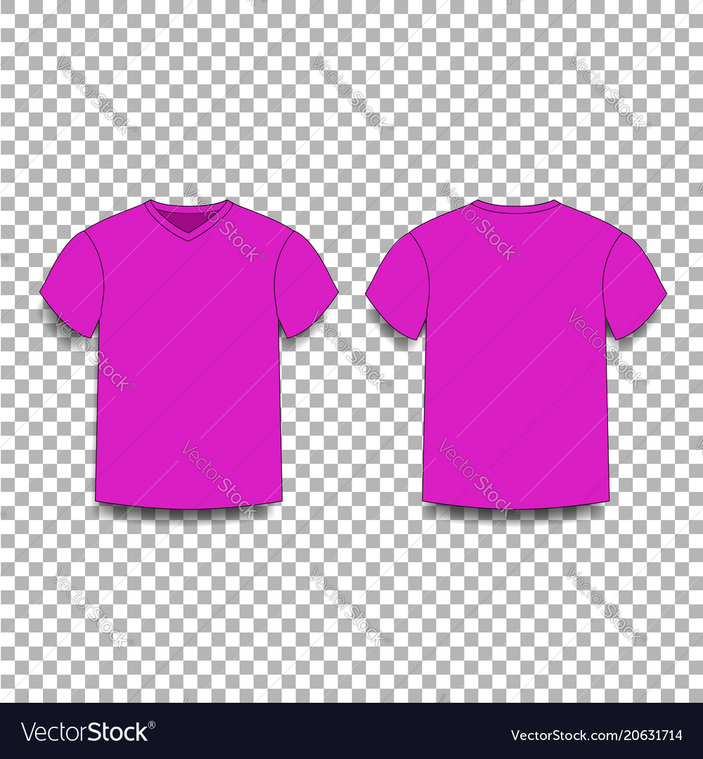 Purple men s t-shirt template v-neck front and vector image