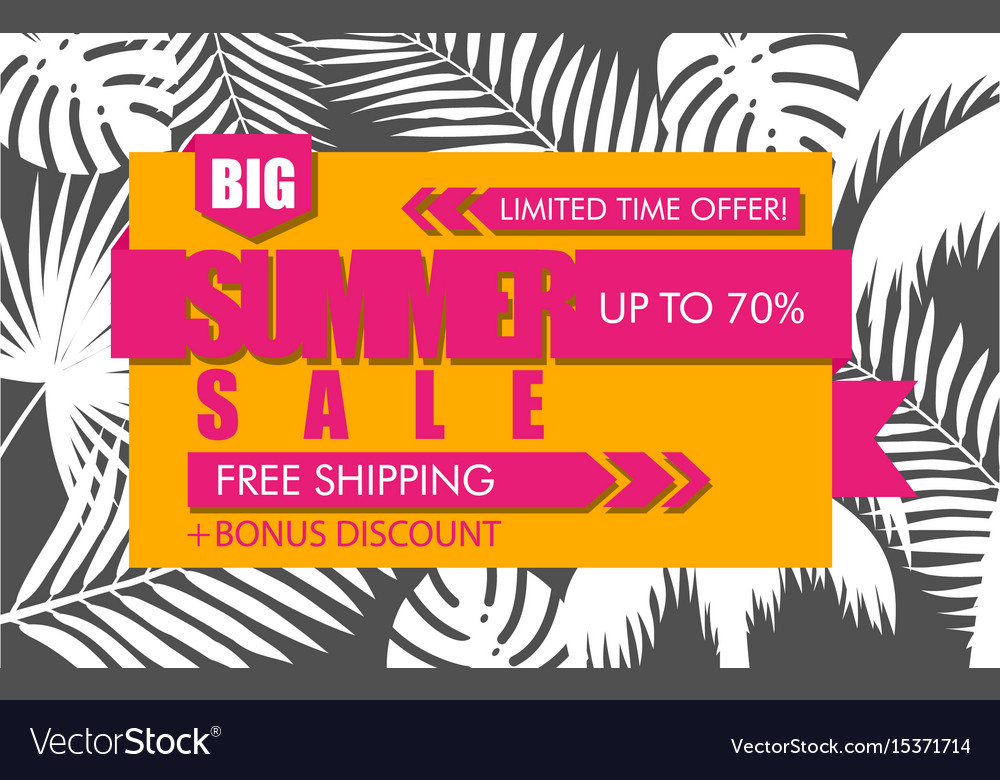 Summer sale banner with white tropical exotic palm vector image