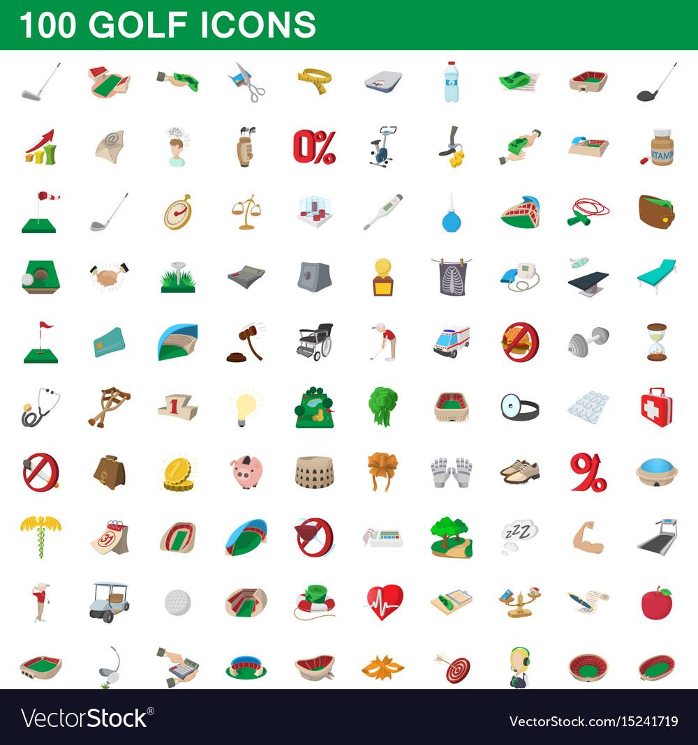 100 golf icons set cartoon style