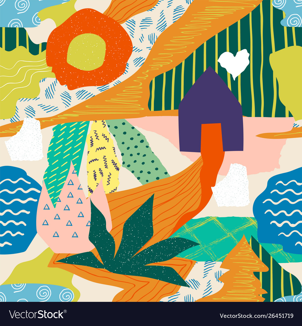 Abstract collage pattern seamless doodle print