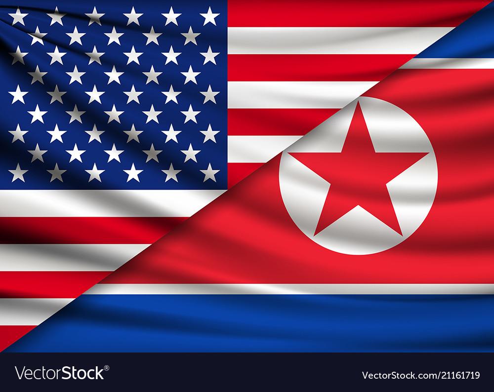 America flag and north korea flag background