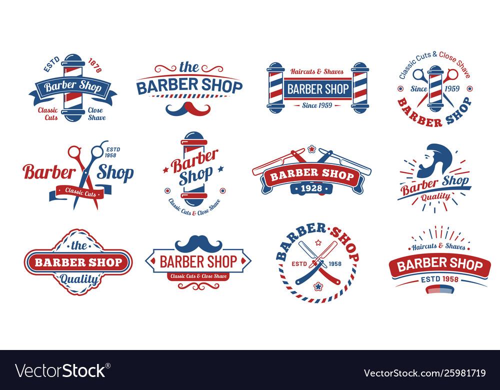 Barbershop badges vintage barber label retro