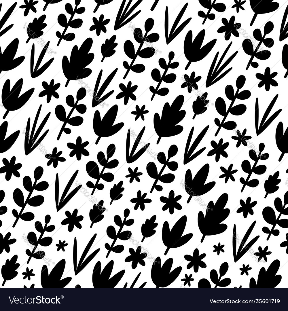 Black leaves silhouettes pattern