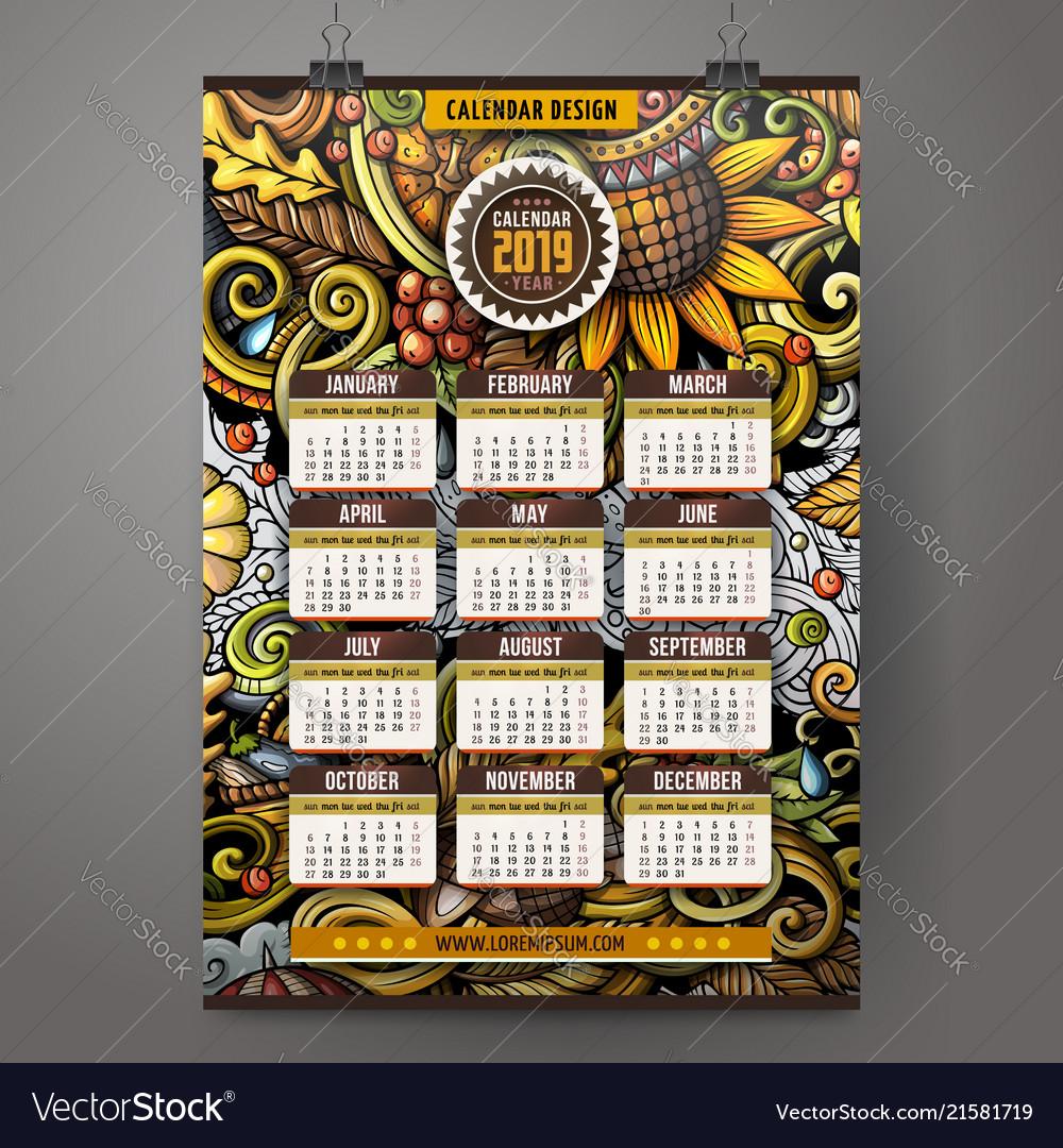Cartoon Doodles Autumn 2019 Year Calendar Template