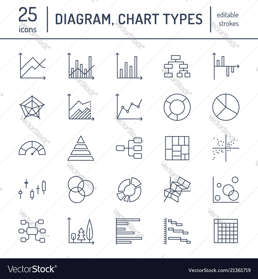 chart types flat line icons linear graph column vector image Block Diagram Linear Accelerator