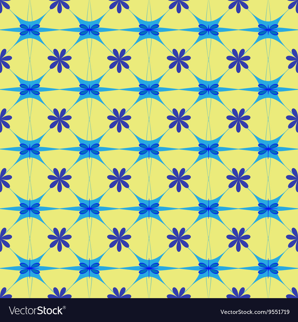 Flower blue seamless pattern vector image
