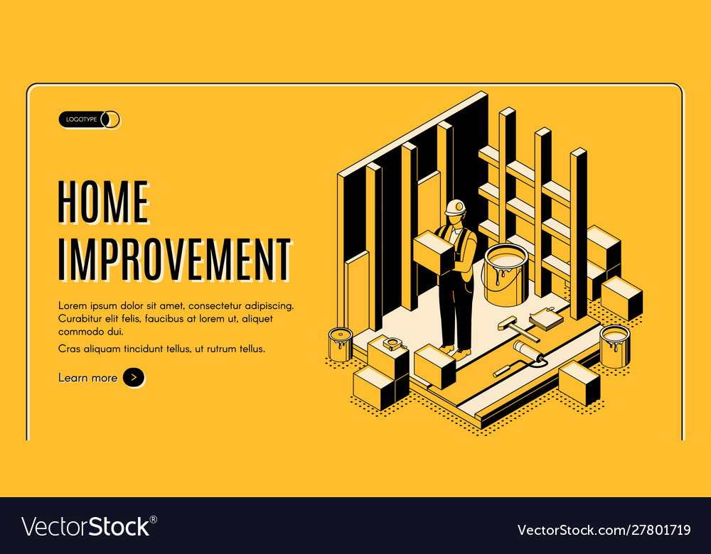 Home improvement isometric landing page banner