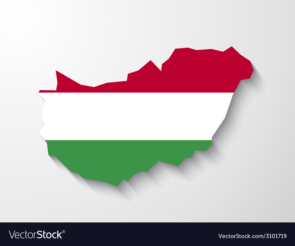 Hungary country map with shadow effect