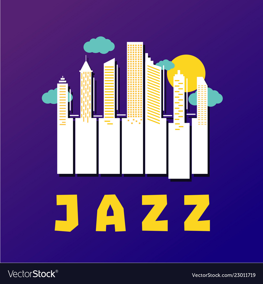 Jazz music poster with piano keys and city