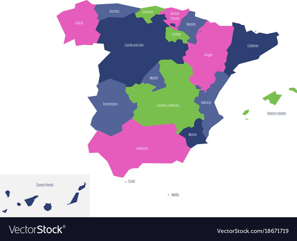 Map Of Spain La Mancha.Map Of Spain Devided To Administrative Autonomous