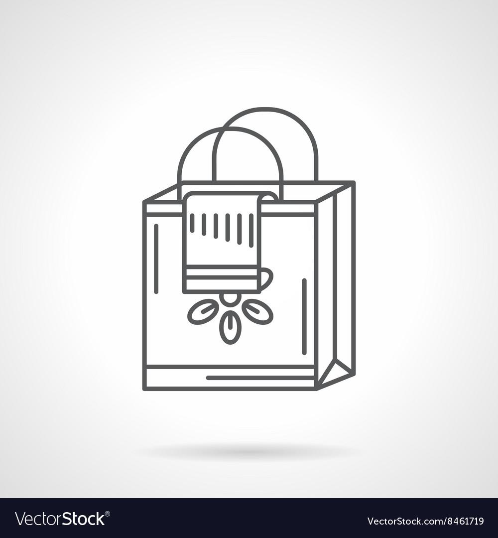 Shopping bag flat line icon vector image