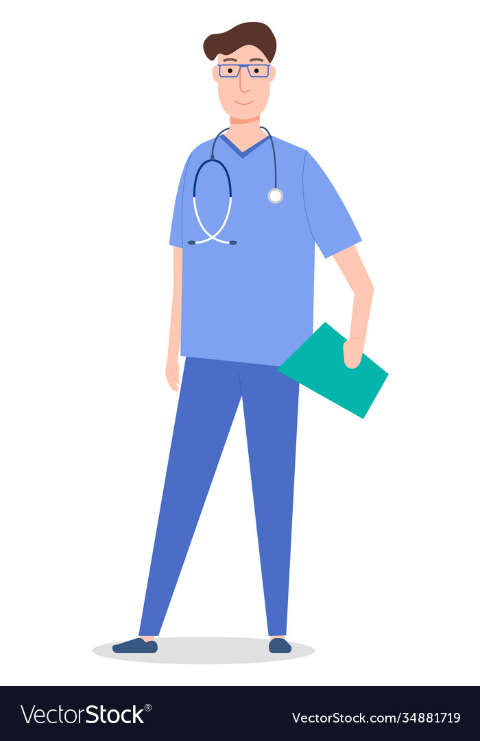 Standing and smiling doctor with