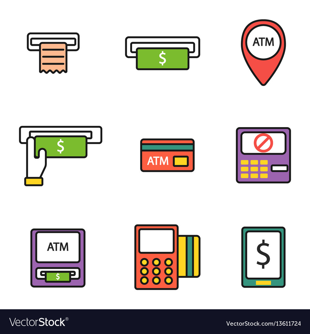 Atm pos-terminal with hand credit card icons