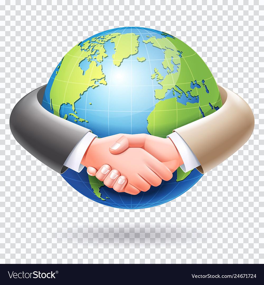 Business people handshake around world globe