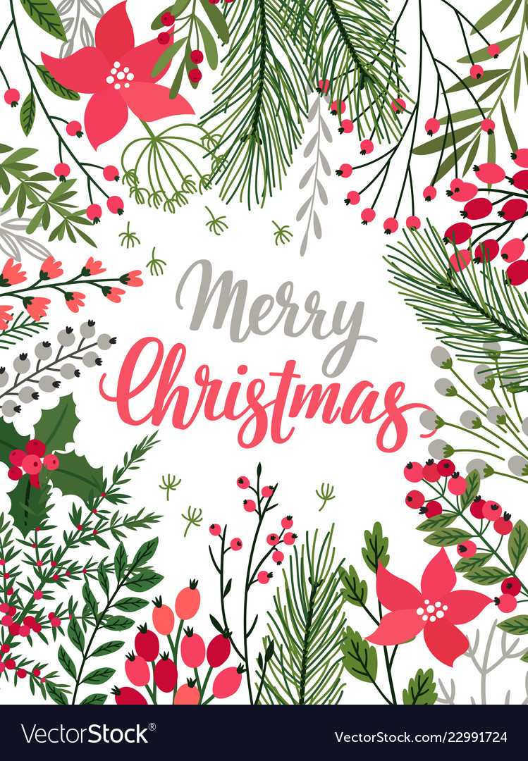 Christmas callygraphic card - hand drawn floral