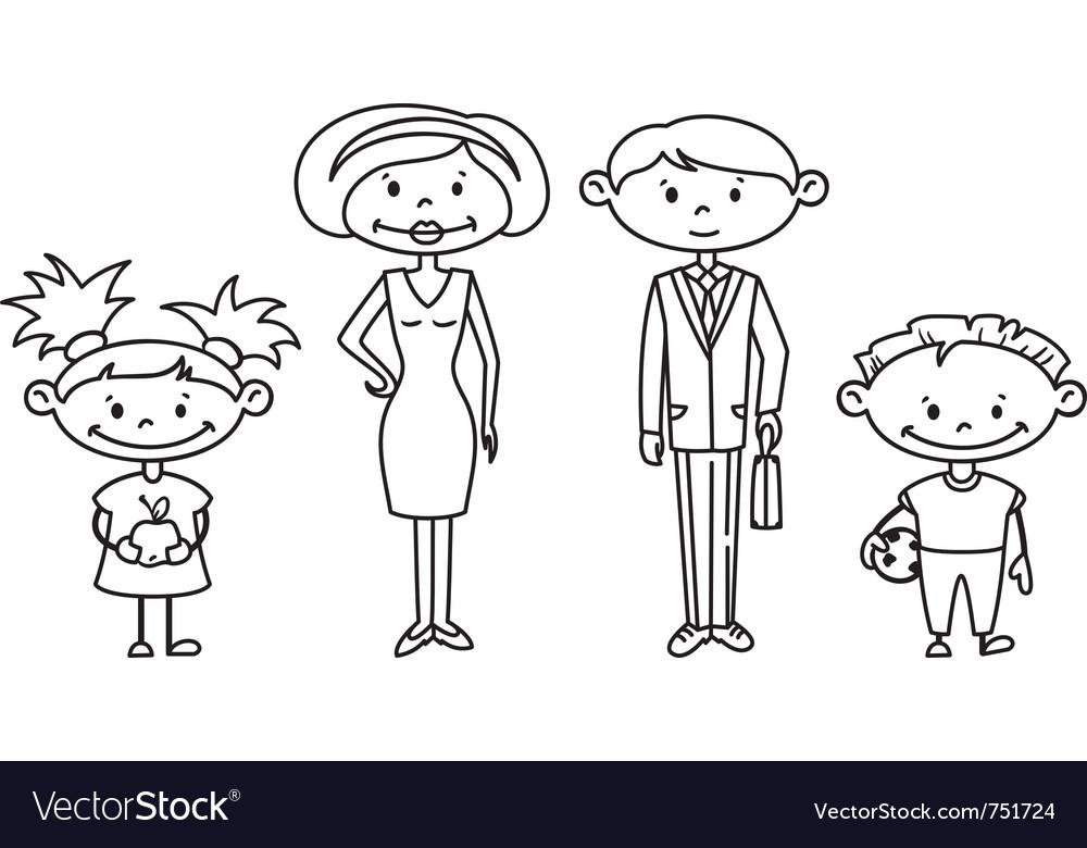 Cute doodle family set
