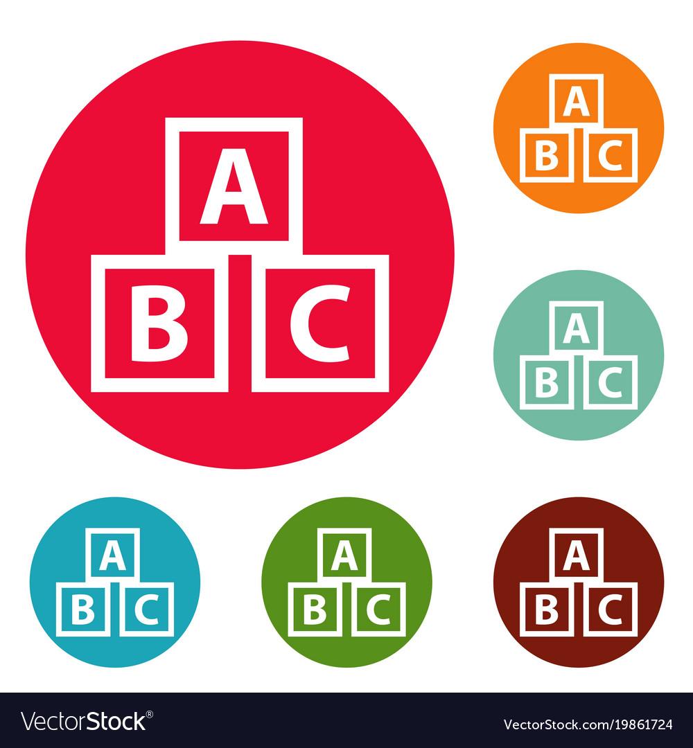 Education abc blocks icons circle set