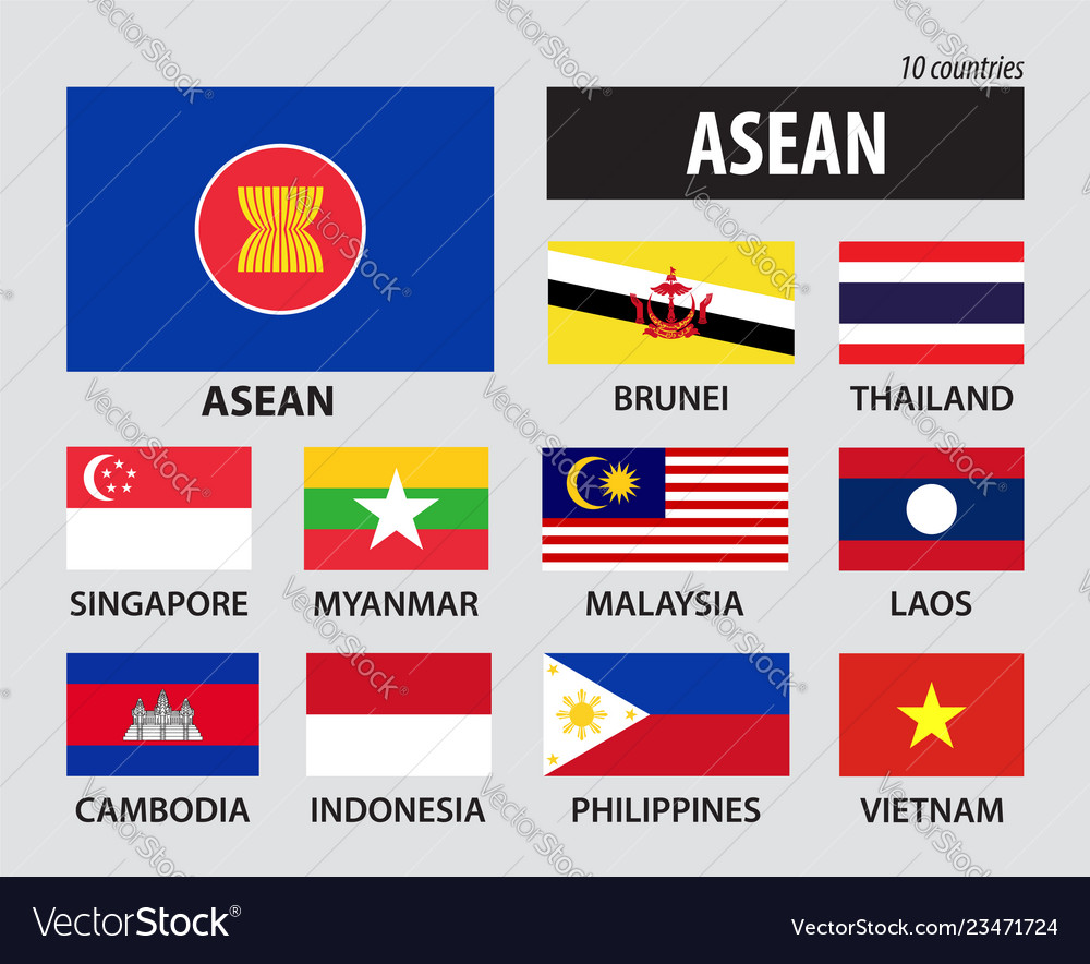 Flag of asean association of southeast asian