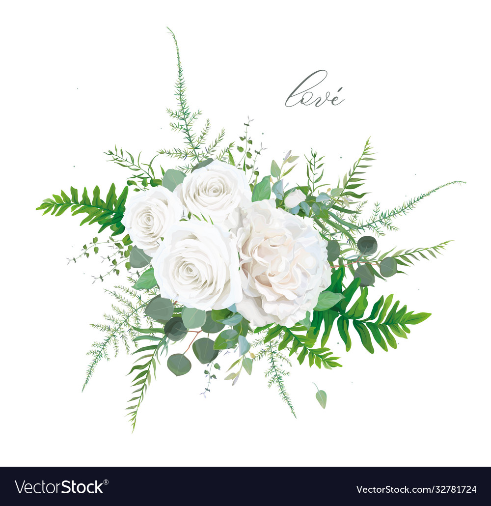 Floral bouquet ivory white rose greenery leaves