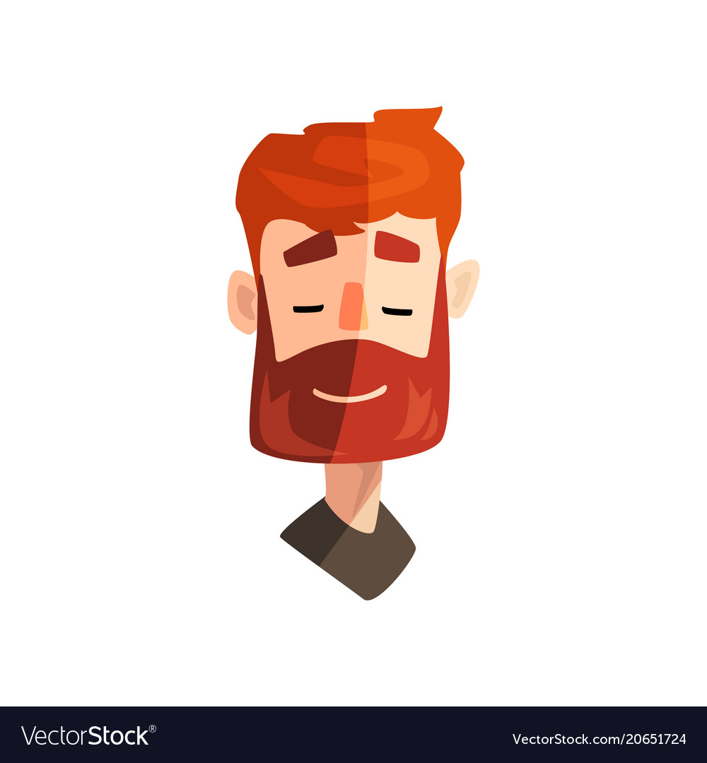 Friendly redhead bearded man male emotional face vector image