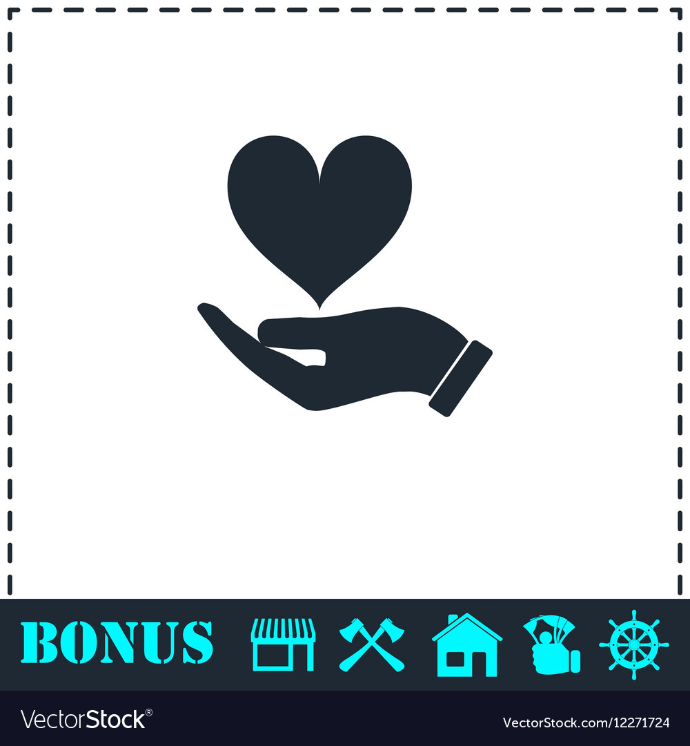 Hands love design icon flat