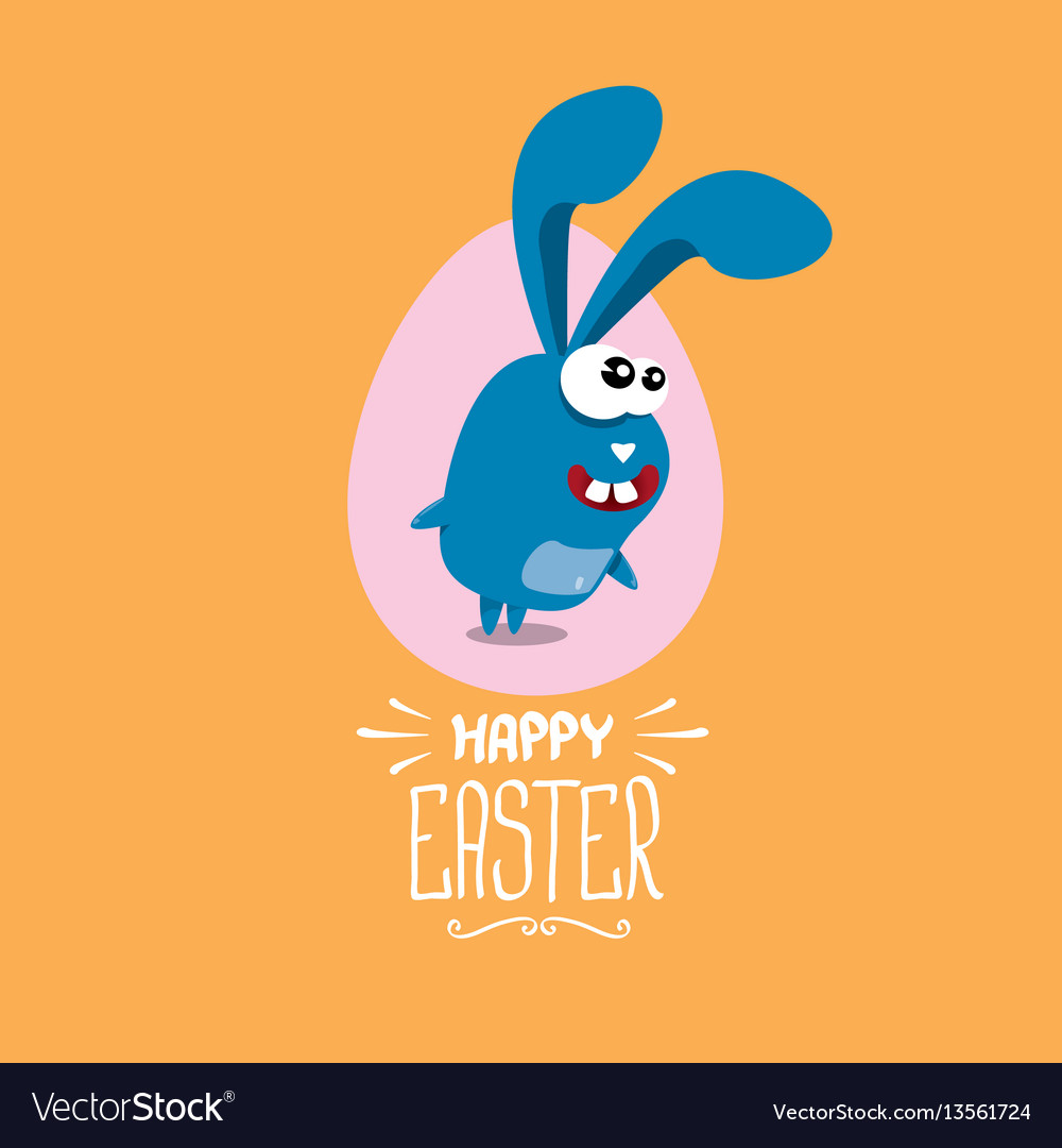 Happy easter greeting card with funny bunny