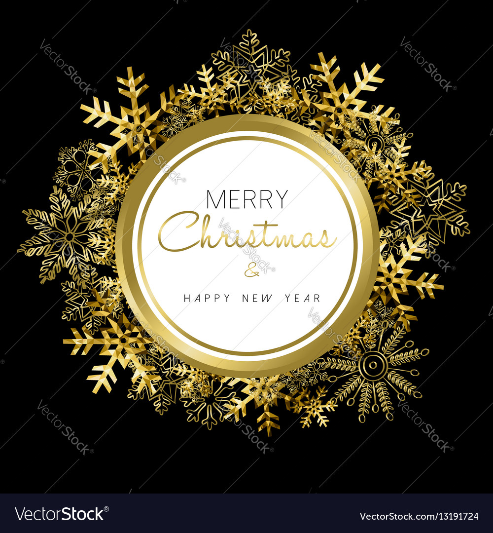 Merry Christmas and New Year gold snow wreath