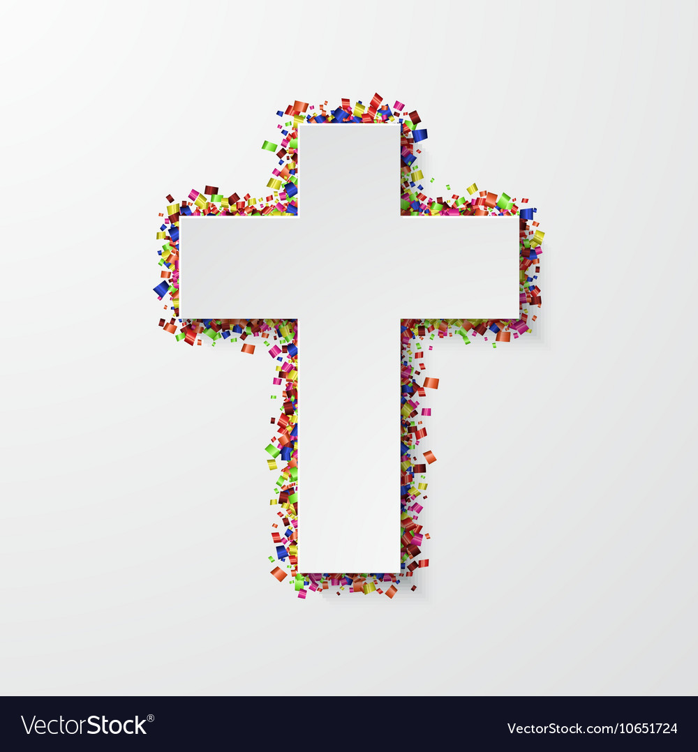 Modern cross with confetti on white