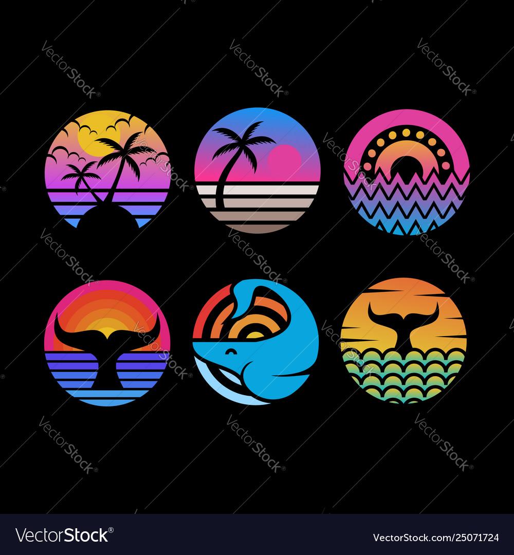 Ocean sunset circle