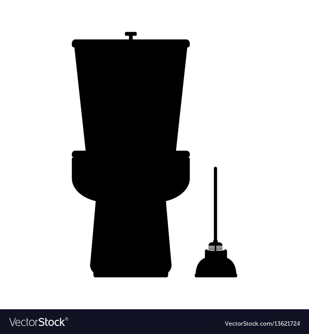 Toilet flat icon on blue background vector image