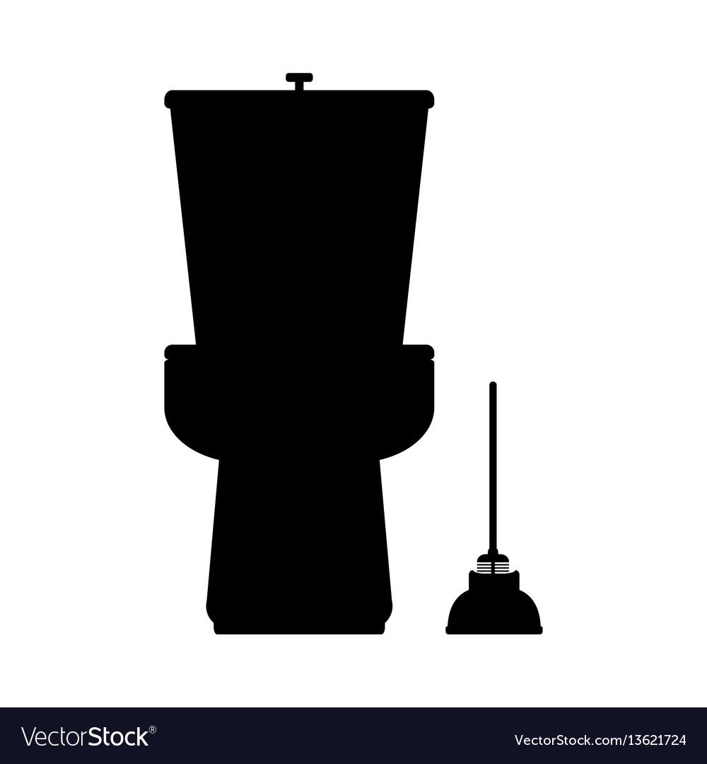 Toilet flat icon on blue background