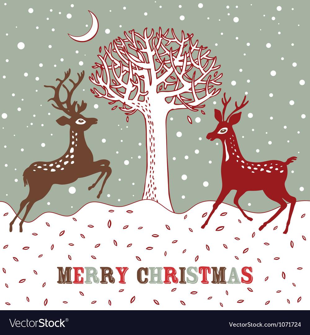 Vintage Christmas Deer Card