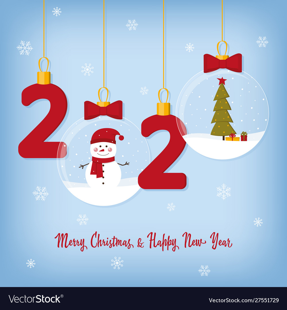 2020 happy new year card with christmas balls