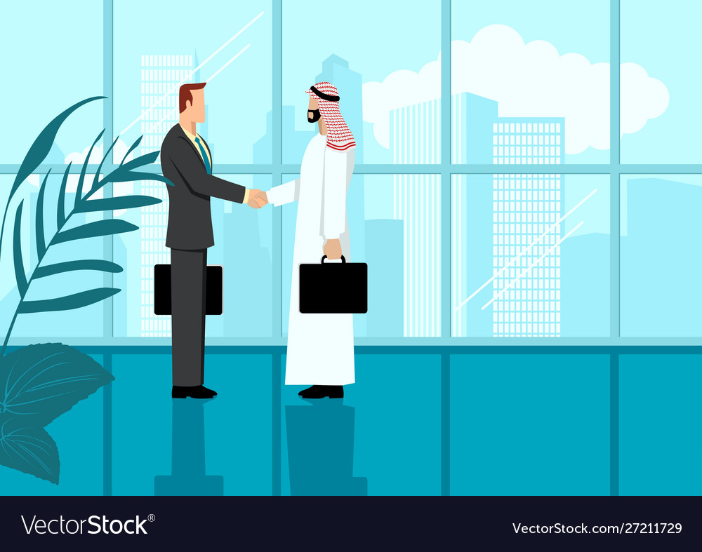 Arabic businessman shake hand with western