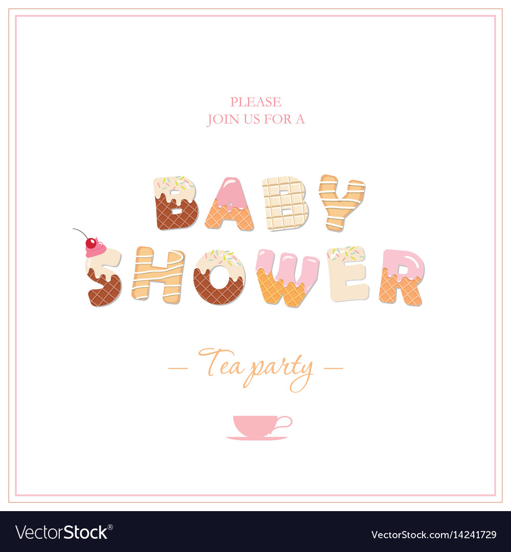 Baby shower tea party invitation design sweet vector image filmwisefo