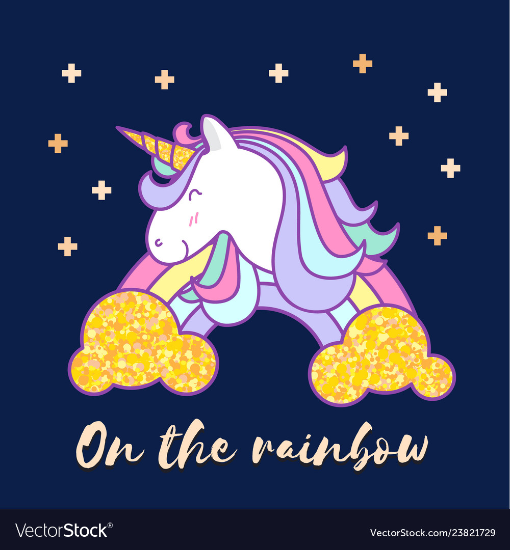 Cute unicorn cartoon character design