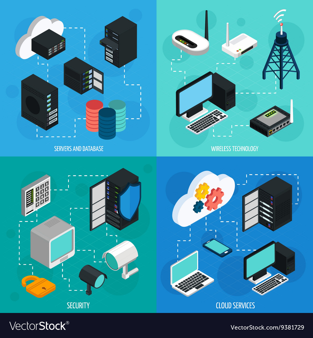 Data Center 2x2 Isometric Icons Set