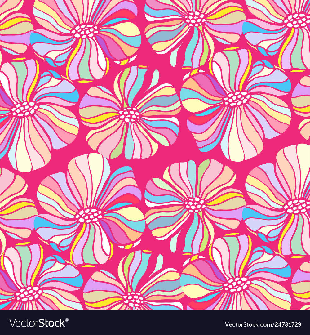 Doodle flowers on a pink background colorful