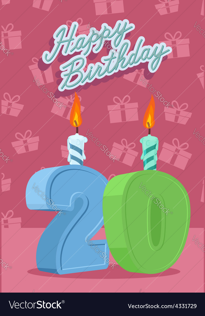 Happy Birthday Card With 20th Vector Image