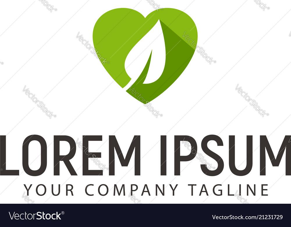 Heart leaf logo design concept template
