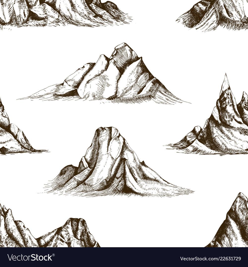 Monochrome seamless pattern with mountain peaks